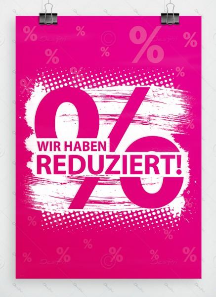 Wir haben reduziert! - Werbeplakat, Aktionsplakat, DIN A1, pink, P0066A