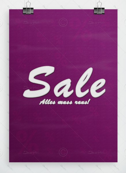 SALE - Alles muss raus! Werbeplakat - Leder-Look, Violettmagenta, A1, P0042C