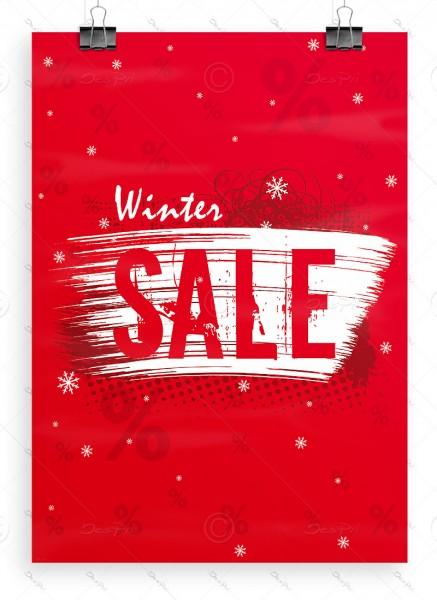 Werbeposter - Winter Sale - Werbeplakat, rot, DIN A1, P0062