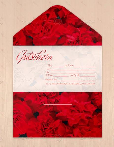 Gutscheinkarte klassisch, 50 Stück, rote Nelken, flower collection, 19x10 cm, G0010