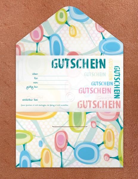 Gutscheinkarte klassisch, 50 Stück, Geschenkgutschein, pop art look, 19x10 cm, G0003