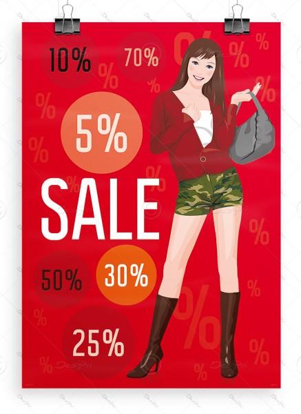 SALE Plakat - Ausverkauf Werbeposter, DIN A1, Rot, P0051