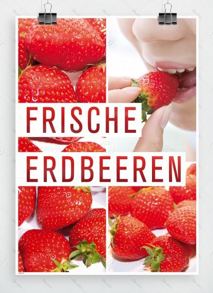 Frische Erdbeeren - Werbeplakat - Poster, DIN A1, P0027