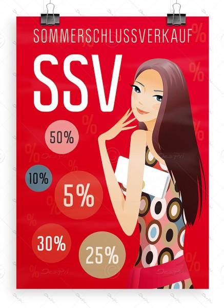 SSV Plakat - Sommerschlussverkauf, rot, DIN A1, P0053