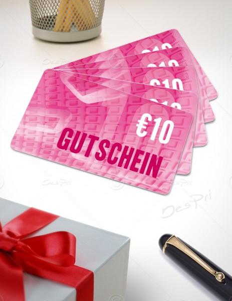 10 Euro Gutschein - Plastikkarten - Gutscheinkarten, PK0001A, 50 Stück
