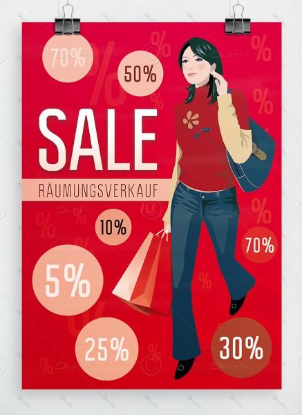 Werbeplakat - SALE - Räumungsverkauf - Poster, rot, DIN A1, P0054B