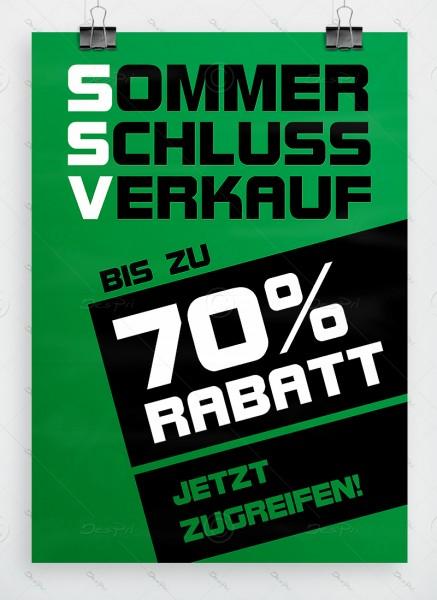 SSV Plakat DIN A1 - Sommerschlussverkauf - bis zu 70% Rabatt, grün, P0043B