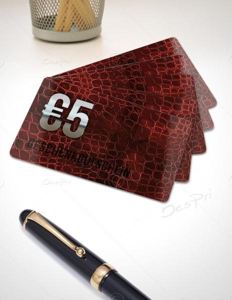 5 Euro Gutscheinkarte, Plastikkarte, Leder-Look, PK0003, 50 Stück