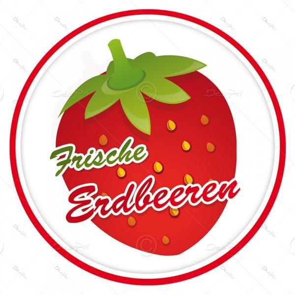 10x Frische Erdbeeren, Schaufenster ablösbare Aufkleber, Rund, UV-Lack, A0002