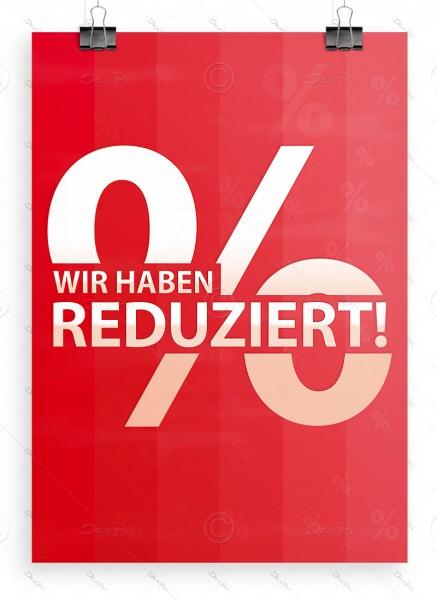 Wir haben reduziert! Werbeplakat, Aktionsplakat, DIN A1, rot, P0020A