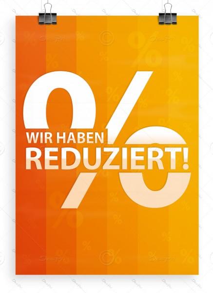 Wir haben reduziert! Werbeplakat, Aktionsplakat, DIN A1, orange, P0020