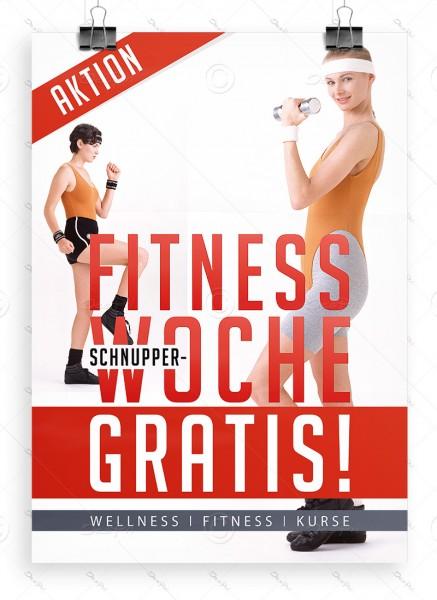 "Werbeplakat ""Fitness Schnupperwoche Gratis"" Poster DIN A1, P0075"