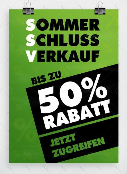 SSV - Sommerschlussverkauf - Plakat, grün, DIN A1, P0001B