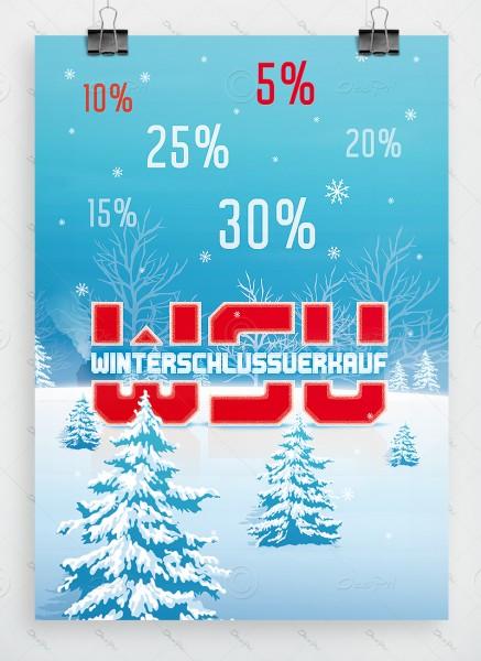 WSV Plakat - Winterschlussverkauf, hellblau, DIN A1, P0060