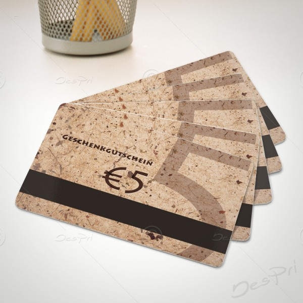 5 Euro Gutscheinkarte, Plastikkarte mit Magnetstreifen, Mino Paper look, PK0002, 50 Stück