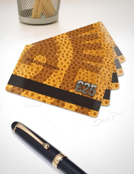 25 Euro Gutscheinkarte, Plastikkarte mit Magnetstreifen, Leder-Look, PK0003B, 50 Stück
