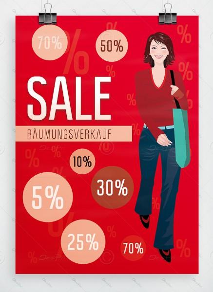 SALE - Räumungsverkauf - Plakat, rot, DIN A1, P0055