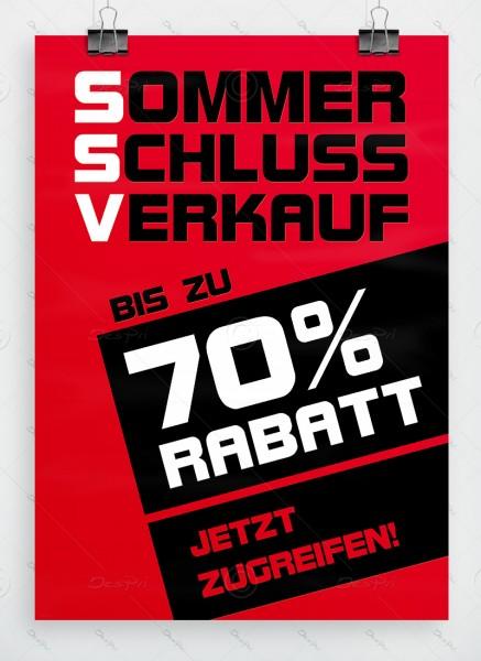 SSV Plakat - Sommerschlussverkauf - bis zu 70% Rabatt, rot, DIN A1, P0043