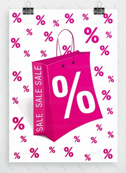 SALE - Werbeplakat - Poster, Weiß-Pink, P0005A, DIN A1