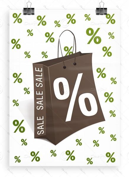 SALE - Werbeplakat - Poster, Weiß/Braun/Erbsengrün, P0005B, DIN A1