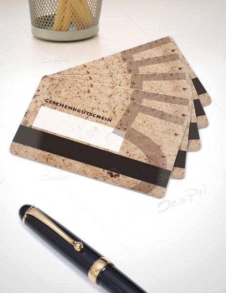 5 Euro Gutscheinkarte, Plastikkarte mit Magnetstreifen und Textfeld, Mino Paper, PK0002, 50 Stück