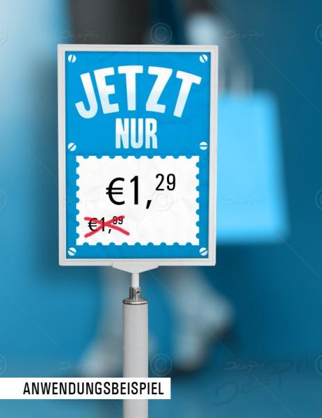 Preisschild, Flyer, Werbeschild mit Textfeld zur Preis- und Angebotsauszeichnung.