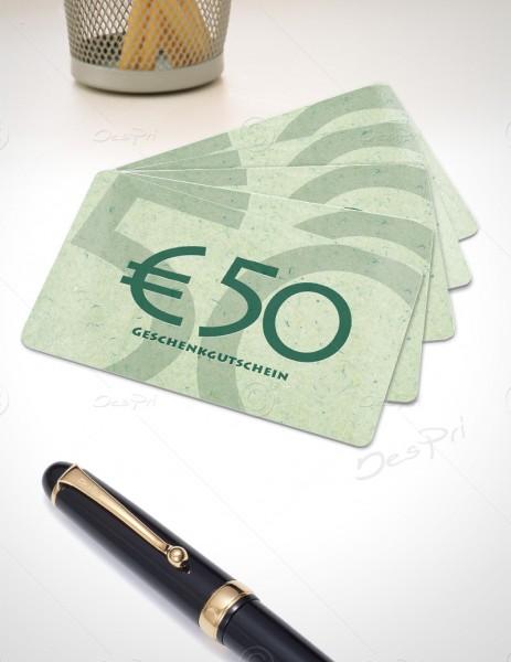 50 Euro Gutscheinkarte, Plastikkarte, Mino Paper look, PK0002C, 50 Stück