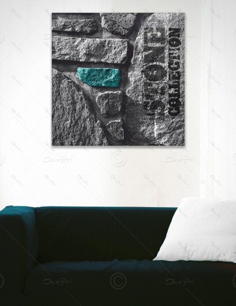 Leinwandbild - Turquoise Stone, Stone collection by MP-STYLE, Keilrahmen, LB-FP-0001A