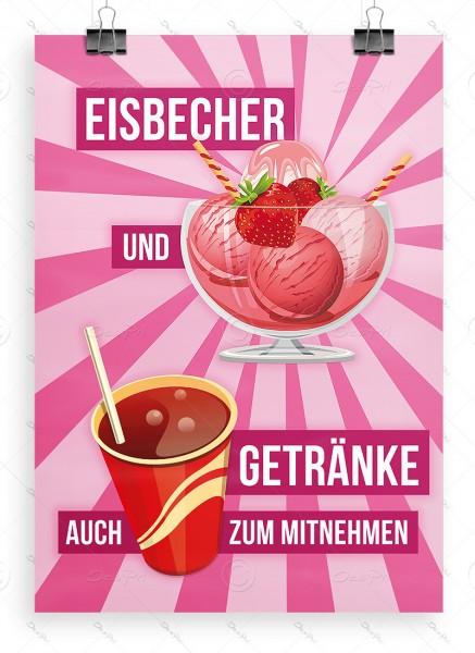 Eisbecher und Getränke auch zum mitnehmen, Plakat, A1, Erdbeereis, P0029