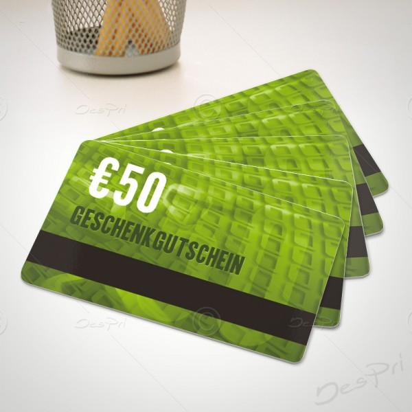 50 Euro Gutschein - Plastikkarten - Gutscheinkarten mit Magnetstreifen, PK0001C, 50 Stück