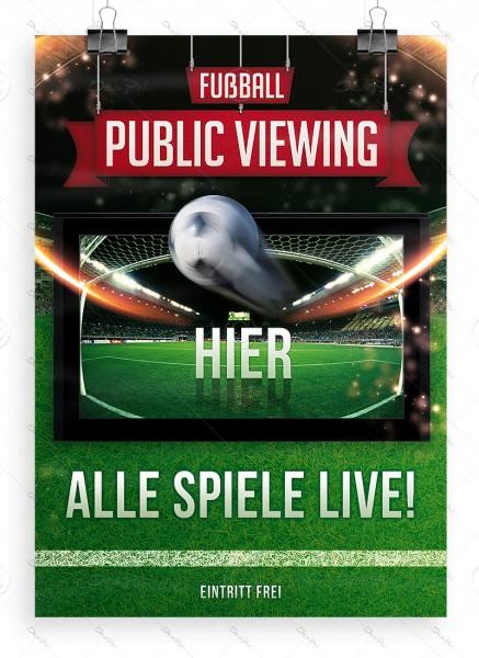 Fussball - Public Viewing - Hier - Alle Spiele LIVE! - Plakat, DIN A1, P0033