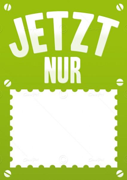 Preisschild, Werbeschild - Jetzt nur, Flyer mit Textfeld, F0001, Grün, 25 Stück
