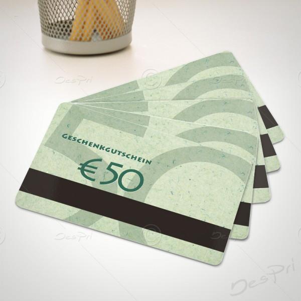 50 Euro Gutscheinkarte, Plastikkarte mit Magnetstreifen, Mino Paper, PK0002C, 50 Stück