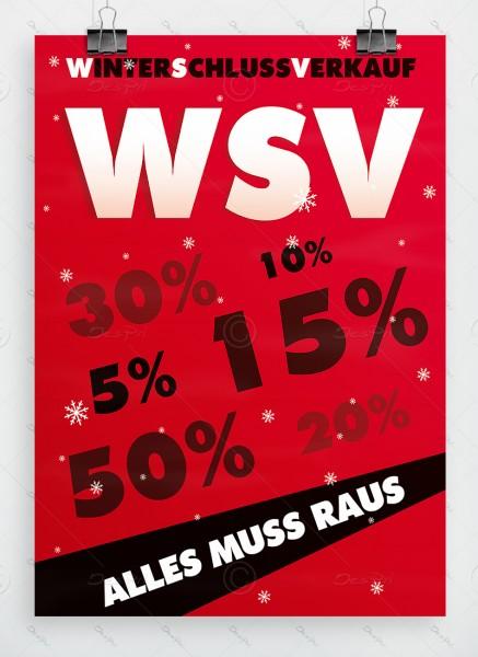 WSV Plakat - Winterschlussverkauf, Alles muss raus, rot, DIN A1, P0061A