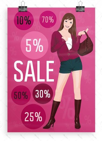 SALE Plakat - Ausverkauf Werbeposter, Hellmagenta, DIN A1, P0051B