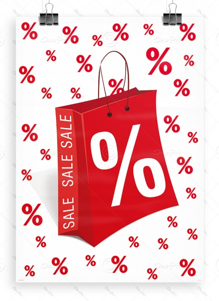 """Werbeplakat """"SALE"""" Poster - P0005, weiß-rot, DIN A1, Ladenausstattung"""