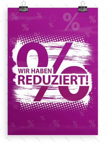 Plakat - Wir haben reduziert! - Werbeposter, DIN A1, violett, P0066B