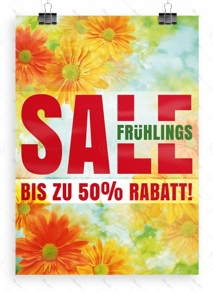 Fruehlings SALE - bis zu 50% Rabatt! Despri Werbeplakat, DIN A1, P0090