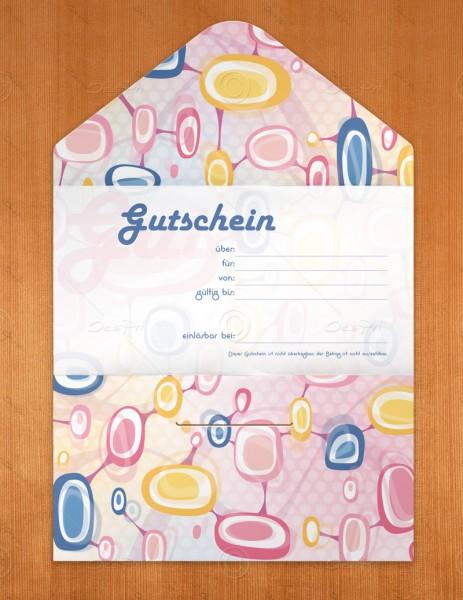 Gutscheinkarte klassisch, 50 Stück, Geschenkgutschein, pop art look, 19x10 cm, G0004