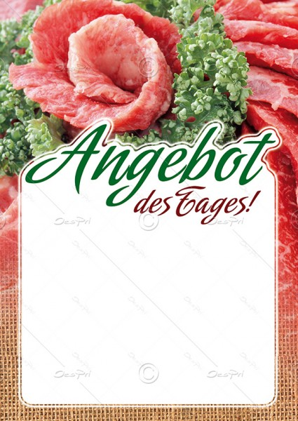 Preisschilder mit Textfeld - Angebot des Tages! Metzgerei, F0017, 25er Set