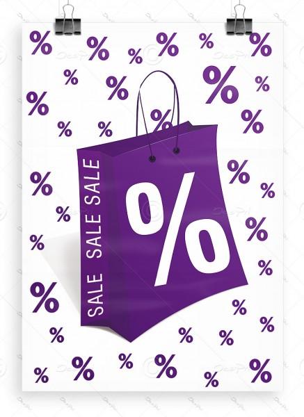 Werbeplakat - SALE, Werbeposter, Weiß/Violett, P0005C, DIN A1