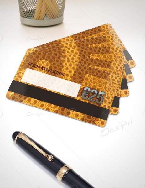 25 Euro Gutscheinkarte, Plastikkarte mit Magnetstreifen und Textfeld, Leder-Look, PK0003B, 50 Stück