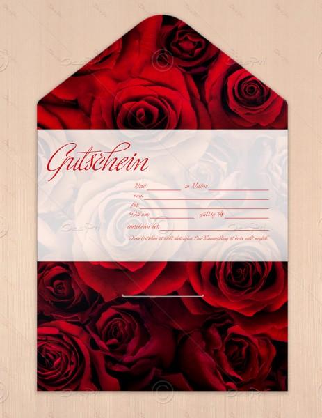Gutscheinkarte klassisch, 50 Stück, rote Rosen, flower collection, 19x10 cm, G0011