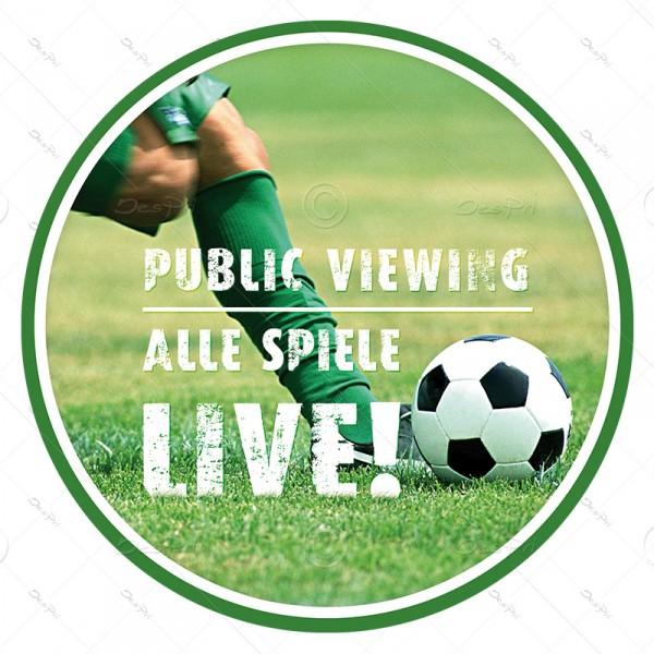 10x Fussball - Public Viewing, ablösbare Aufkleber, Rund, UV-Lack, A0006