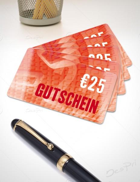 25 Euro Gutschein - Plastikkarten - Gutscheinkarten, PK0001B, 50 Stück