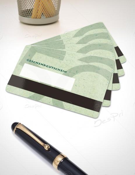 50 Euro Gutscheinkarte, Plastikkarte mit Magnetstreifen und Textfeld, Mino Paper, PK0002C, 50 Stück