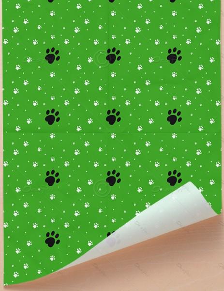 Geschenkpapier - Pfoten - Grün, 68 cm x 98 cm, GP0002C ab 100 Stück