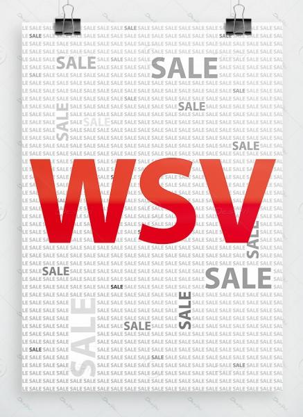WSV SALE Winterschlussverkauf, Plakat by Despri, weiß, DIN A1, P0078
