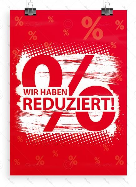 Wir haben reduziert! - Werbeplakat, Aktionsplakat, DIN A1, Rot, P0066