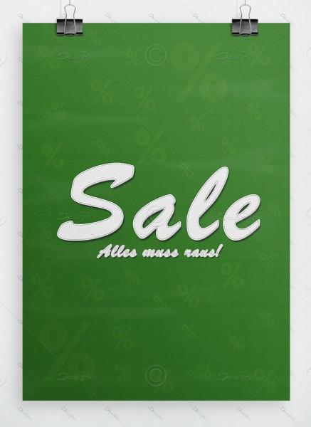 Werbeplakat - SALE - Alles muss raus! Leder-Look, grün, DIN A1, P0042D